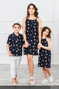 "Комплект в стиле family look мама+дочка+сын ""Круиз"""