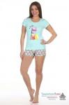 Пижама женская Макаруны (шорты и футболка)