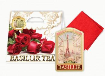 """Чайный набор BASILUR """"Алый"""" с салфеткой, 100 г ж/б."""