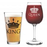 King Beer Queen Wine Glass- 16 oz.
