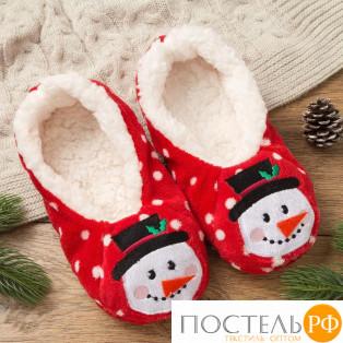 """Носки-тапочки женские MINAKU """"Снеговик"""", размер 23, цвет кра"""