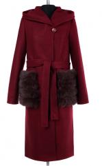 02-1782 Пальто женское утепленное (пояс) Валяная шерсть Крас
