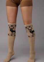 """Гольфы из шерсти """"Верблюд"""" бежевый с рисунком, Монголия"""