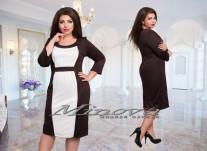 Платье №385-1 шоколадный+белый