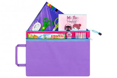 """Папка-сумка с ручкой 38*27*0,6 см """"Фиолетовая с розовой вста"""
