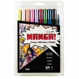 Tombow Dual Brush Pen Art Markers, Manga Shojo, 10-Pack