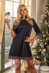 Платье П 412 (темно-синий+узор)