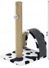 Когтеточка столбик + дуга, джут/ковролин/игрушка 35х30х54см