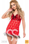 Красная полупрозрачная ночная сорочка с черным рюшем 2838_кр