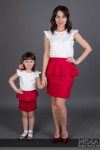 Комплект Family Look юбка с баской М-216 для мамы и дочки