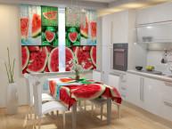 Фотошторы для кухни Арбуз Габардин