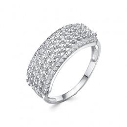 0723 Кольцо с фианитом родированное серебро 925*
