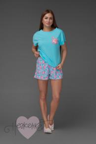 Женская пижама ЖП 022 (голубой+принт единороги)