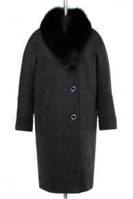02-2006 Пальто женское утепленное Валяная шерсть Темно-серый