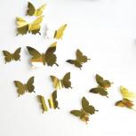 Наклейка Бабочки с зеркальным эффектом Золото, 12 штук