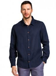 Мужские льняные рубашки БАТАЛ т.синий