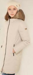 Пальто для девочки бежевый/оливковый