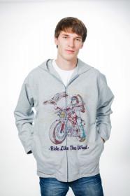 Толстовка мужская на молнии с рисунком «Ride Like The Wind»
