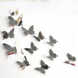 Наклейка Бабочки с зеркальным эффектом Серебро, 12 штук