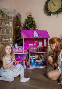 Фиолетовый кукольный домик 90см