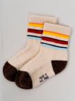 Носки детские из шерсти 100% белый цветные полосы, Монголия