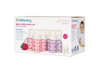 Lifefactory Six-Bottle Starter Set, Spring/Sky, 4 Ounce