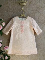 Классическое платье с вязаным кружевом Розовое