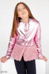 Кожаная розовая куртка для девочки