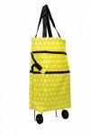 Хозяйственная складная сумка с выдвижными колесиками, гороше