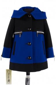 10-0220 Пальто детское демисезонное Кашемир Сапфир-черный