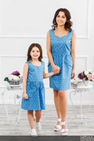 """Комплект платьев для мамы и дочки """"Зонтики"""""""