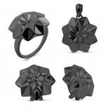 Гарнитур из родированного серебра  Артикул: R08686чр, E0836