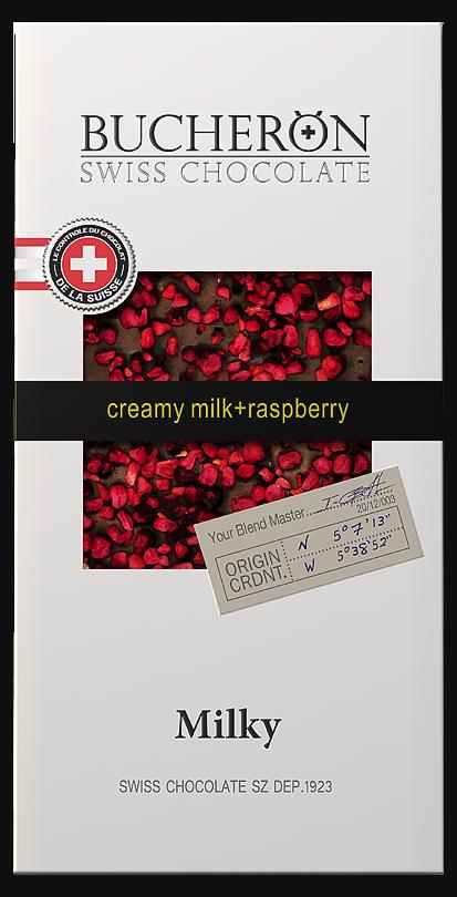 Молочный шоколад с малиной