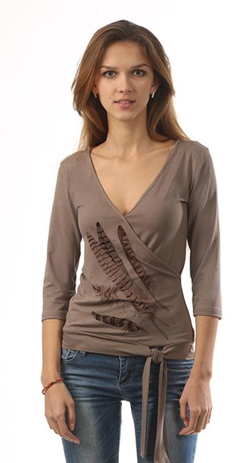 Блузка с имитацией запаха коричневая с рисунком «Коричневые