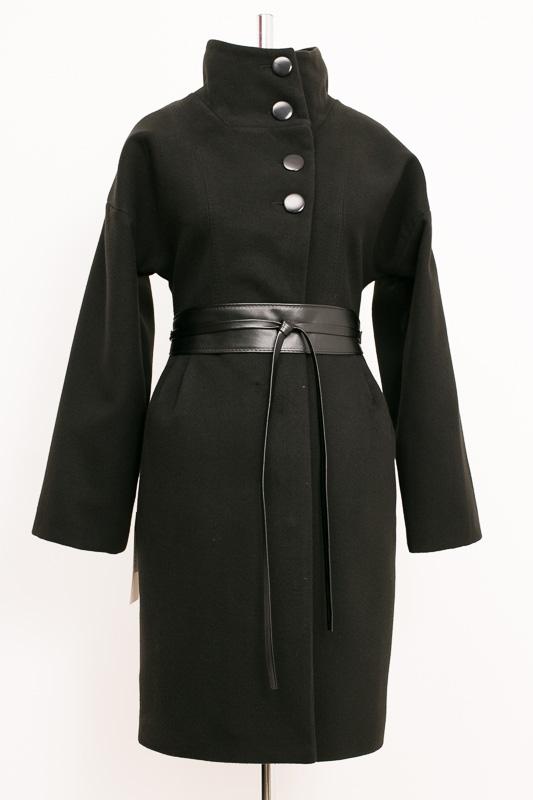 01-1963 Пальто женское демисезонное (пояс) Кашемир Черный