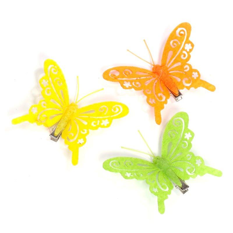 Набор бабочек на клипе (войлок) 284257-2  80мм уп.6шт