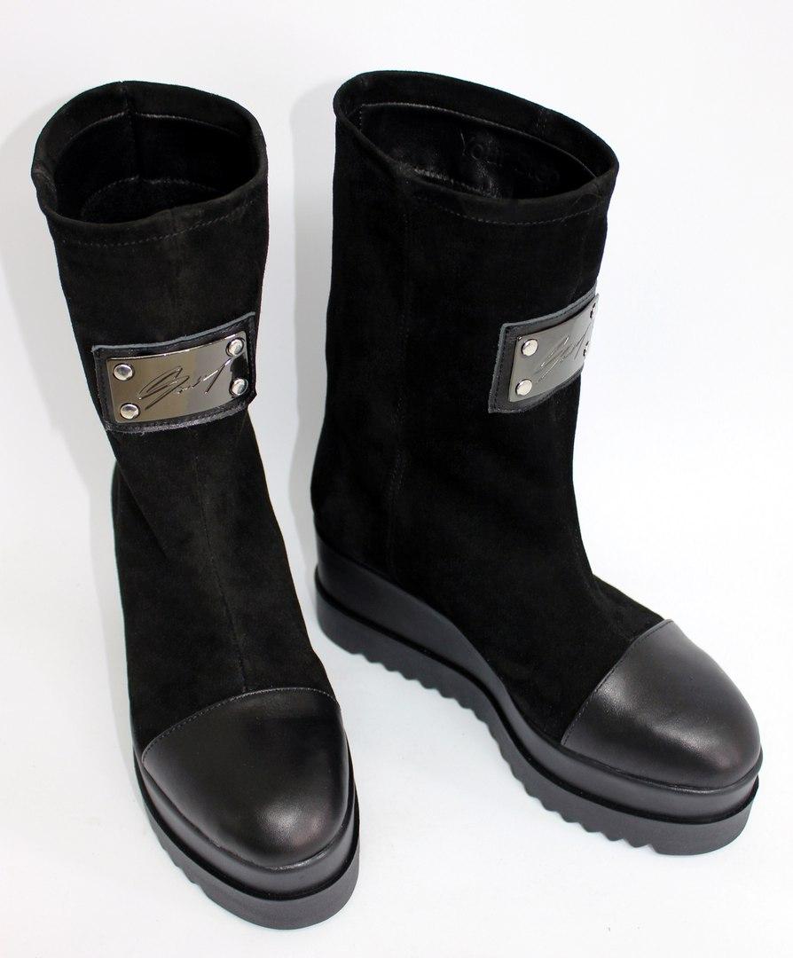 Стильные замшевые ботинки на платформе. Новинка 2017!
