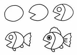 Как ребенку нарисовать рыбку