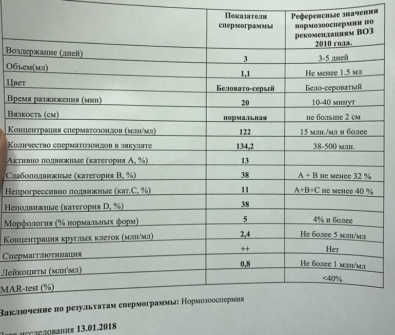 Нормальные показатели спермограммы таблица ваша
