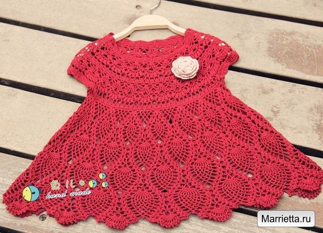Детское платье ананасами описание