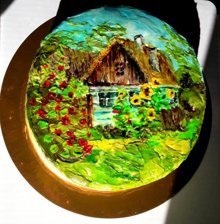 Картинка с домиком на торт