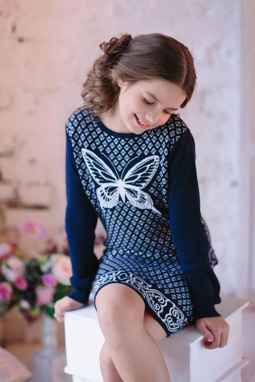 Вязанные платья для девочек доставка